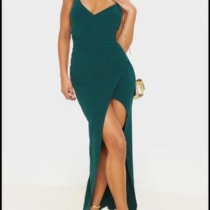 Emerald spaghetti strap fitted dress